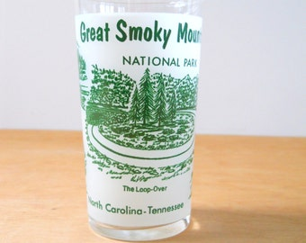 Vintage Souvenir Glass • Great Smoky Mountain National Park Glass • Green and White National Park Souvenir Glass