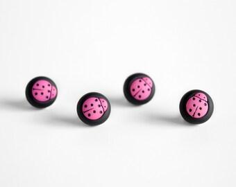 Ladybug Pushpins Pink Black Polka Dot Home Office Fun Gift for Teens, Gardeners, Grandma, Craft Room Decoration. Spring Gift Set of 4