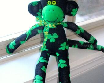 Sock Monkey Doll St. Patrick's Irish Handmade Black Green Shamrocks