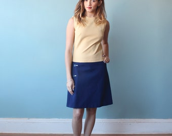 mod scooter dress / two tone color block sleeveless dress / 1960s / small - medium