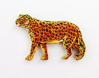 1960s Leopard Brooch - Pin / Unique Gift Under 50 / Upcycled Vintage Hand Cut Wood Jewelry / Brown & Black Wood Jungle Animal