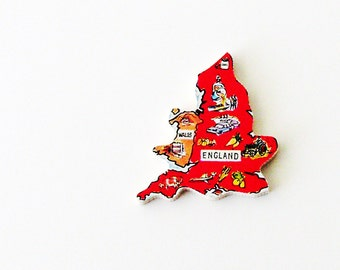 1960s Wales & England Brooch - Pin / Unique Wearable History Gift Idea / Upcycled Vintage Hand Cut Wood Jewelry / Timeless Gift Under 50