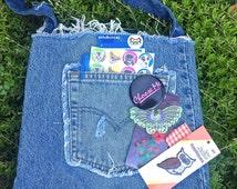 Retro handmade blue jean bag, great pocket in the front, vintage levis, handmade purse, vintage tote bag, recycled denim, bookbag, purse