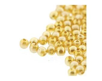 Czech Glass Pearl Beads 2mm Sunglow Yellow 18156 (600), Tiny Round Bead, 2mm Pearls, Czech Glass Bead, Wedding Pearl Bead, Preciosa Bead