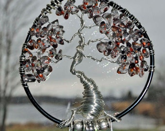 small windchime Tree of life wind chime sea glass wire sculpture one of a kind artist made in Michigan wire wrapped