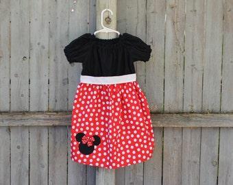 Red Minnie Mouse Dress,  Disney Mickey Minnie Mouse Peasant Dress, Red Minnie Mouse Birthday Dress