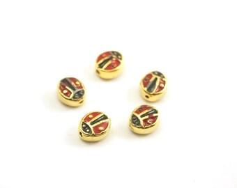 5pc- Matte Gold Plated Mini Lady Bird, ladybugs Bead, spacer-12x5x1mm-(009-051GP)