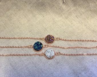 Druzy rose gold Bracelet, rose gold jewelry, Druzy Bracelet, Druzy Jewelry,