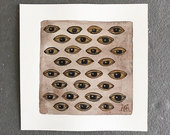 Eye Pattern, eyes, surreal, anatomical, miniature small watercolor painting