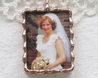 Custom Copper Photo Charm for Bouquet with photo and quote.