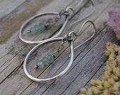 Green Onyx Earrings. Sterling Silver Teardrop Earrings. Lightweight Modern Earrings. Gift for Her. Dangle Earrings.