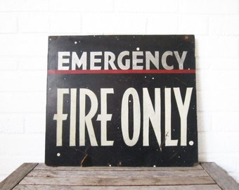 Vintage Emergency Fire Exit Sign - Hand Painted Art Deco Sign - 1930s Industrial Decor - Retro Sign Fire Exit - Art Deco Typography