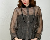 SALE- 1940s Blouse Velveteen Sheer Shirt