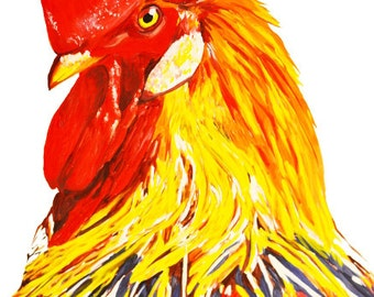 Rooster Portrait Gouache / Watercolor Art Print, wildlife painting, bird art, free range backyard farm life, rooster wall art