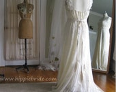 Reserved for Becky Partial payment on Rustic Chic Butterfly Lace Wedding Gown XL