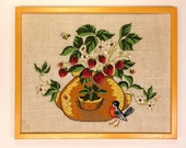 Vintage 1960s70s Bird & Strawberries Fiber Art | 21x17in | Framed Crewel Embroidery Needlepoint Flower Pot Plant | vtg DECOR | FOUND by LB
