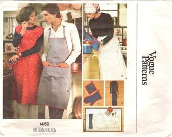 1970s Vogue 1450 Vintage Sewing Pattern Pinafore, Full Apron, Half Apron, Cobbler Apron, Placemat, Potholders Size Large