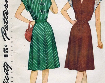 1940s Simplicity 1541 Vintage Sewing Pattern Misses One Piece Dress Size 12 Bust 30, Size 14 Bust 32, Size 16 Bust 34