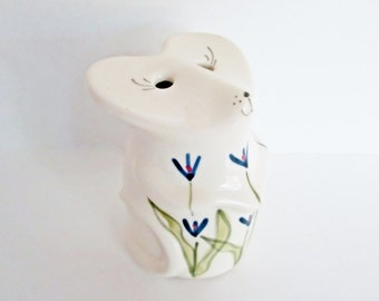Northern Pottery Mouse Cheese Shaker Floral Decorated Parmesan, Frig Baking Soda Container Ceramic White Clay Chapleau Canadian Pottery