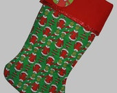 PERSONALIZED Grinch Christmas Stocking, Grinch Stocking, Quilted Stocking, Stocking, How the Grinch Sto;e Christmas