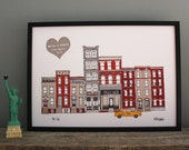 New York Personalised Print - A4 Print - New York Skyline - New York Wedding Gift - Engagement Gift - Wedding Art Gift - Wedding Skyline Art