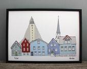 Reykjavik Print // A4 Cityscape Illustration // Scandinavian Print
