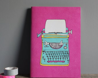 Typewriter Notebook - A5 Recycled Paper Notebook - Retro Typewriter Print - Typewriter Journal