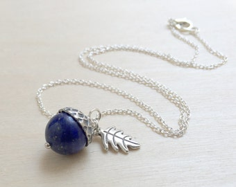 September Lapis Lazuli Birthstone Necklace | Acorn Necklace | September Birthday Necklace | Gemstone Acorn Charm Necklace | Nature Jewelry