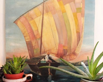 vintage acrylic painting - Mexican Sails