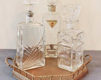 vintage glass bottle - mid century bar decanter