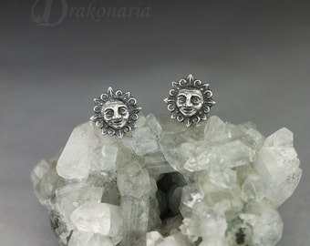 Ancient songs - Sun - sterling silver, super detailed, small earrings with tiny Sun