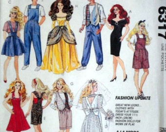 McCall's 6317 Craft Pattern, Barbie and Ken Wardrobe, Fashion Doll Clothes For 11 1/2 Inch Doll, Uncut FF