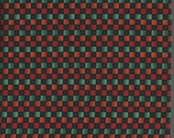 Black/Green/Orange/Red Checkerboard Fabric by David Textiles - 3/4 Yard Piece