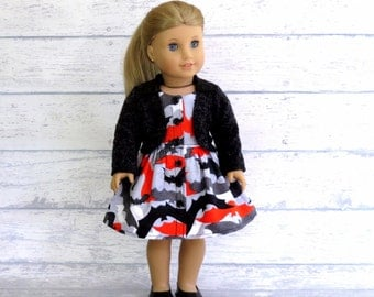 Halloween Doll Dress with Jacket, Black Orange Dress with Collar, Fuzzy Black Coat, AG Doll Clothes