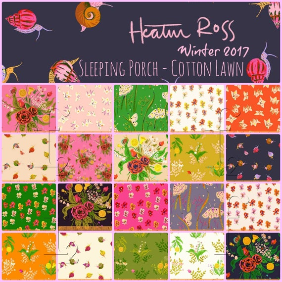 Heather Ross - Sleeping Porch - Half Yard Bundle (25pc prints and solids) Windham Fabrics - Shipping January 2017