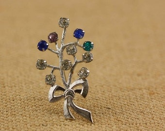 Sterling Silver Rhinestone Branch Brooch - Vintage Costume Jewelry