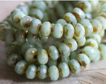 MINTY FRESH BITS .. 30 Premium Picasso Czech Glass Rondelle Beads 3x5mm (4766-st)