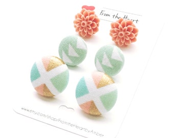 Fabric Button Earrings, Earrings, Coral, Mint, Pastel, Arrow, Diamond, Stud Earrings, Post, Button Jewelry, Accessory, Cabochon Earrings