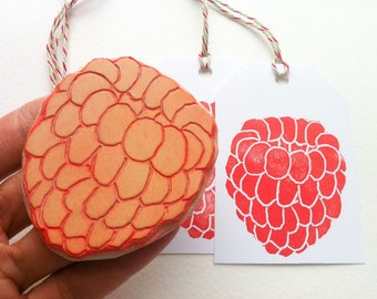 raspberry hand carved stamp, handmade fruit stamp, diy gift tags, diy party invites