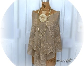 Wrap Shawl for Wedding, Mother of Bride, Evening Wrap, Vintage Tan Crochet, Very Wide and Long