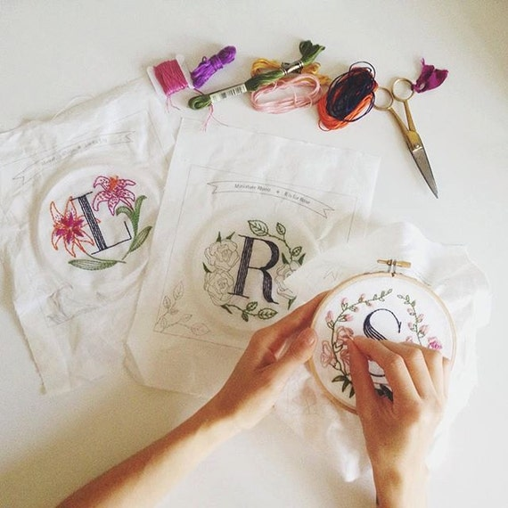 Shop Floral Monograms At Littlebrownnest Etsy Com: Any Two Floral Monogram Embroidery Kits Personalized Gift