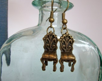 Mini Chair Earrings. 3D Victorian Antique Chair Earrings, Bronze Metal Dangles. Fun and Funky Miniature Furniture Parlor Chair Earrings.