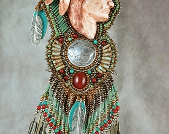 Necklace, Embroidery, Beaded, Native Inspired, Polymer clay sculpture, Bead Embroidery