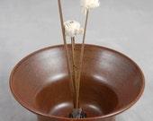 Vase Ikebana Style Bud Vase in Brick Brown for Fresh or Dried Flowers