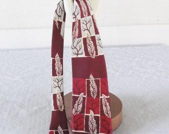1950s Vintage Silk Leaf Print Necktie Maroon Red Gray Damon Original