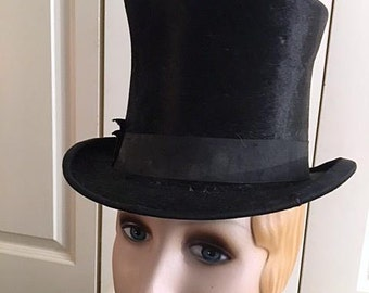 Vintage Antique 1920s Black Top Hat . Steampunk Tall 20s Hat . Mens  Fur Felt Top Hat . Squire Top Hat . High Hat Topper Roaring 20s Gatsby