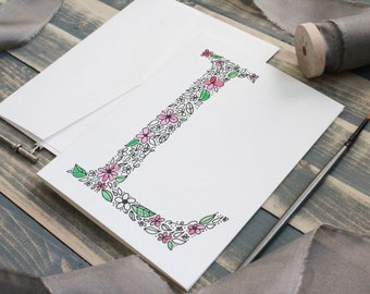 Hand Painted Monogram Stationery Set | Stationery Gift Set | Monogram Gift | Gifts for Her | Floral Watercolor Stationery - Set of 10