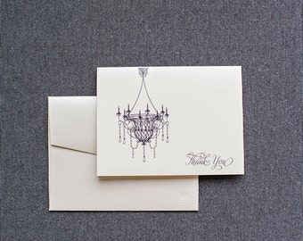 Elegant Chandelier Wedding Thank You Card,  Personal Stationery Set Stationery Gift - Newlywed Cards -  Victoria