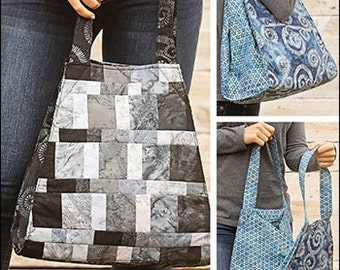 Tribeca Tote PDF sewing epattern - create a patchwork or solid fabric roomy tote bag