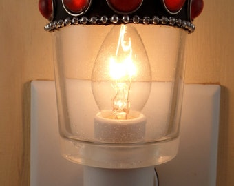 Clear Glass With Ruby Red Cabochons Votive Candleholder Custom Night Light